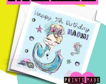 Personalised Cute Mermaid Birthday Card Daughter Sister Niece Granddaughter