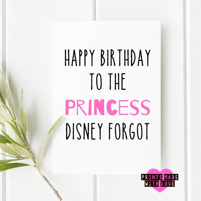 Princess Birthday Card Daughter Card Sister Card Friend Etsy