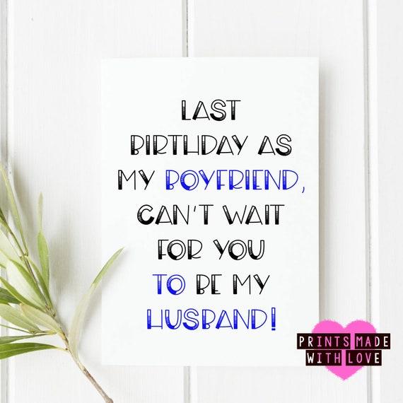 Boyfriend Birthday Card Fiance Husband To Be Happy Etsy