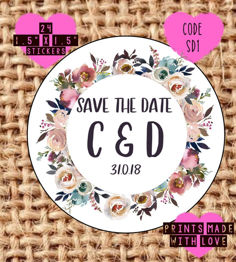 love is sweet confetti seals save the date bride tribe THROW ME Floral themed wedding stickers sweet trolley