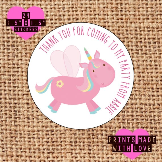 unicorn party bag stickers stickers personalised party bag etsy