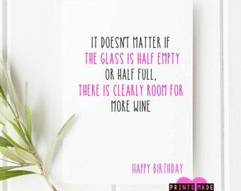 Wine lover birthday card | bestfriend card | happy birthday | friend birthday card | sister birthday card | Aunty