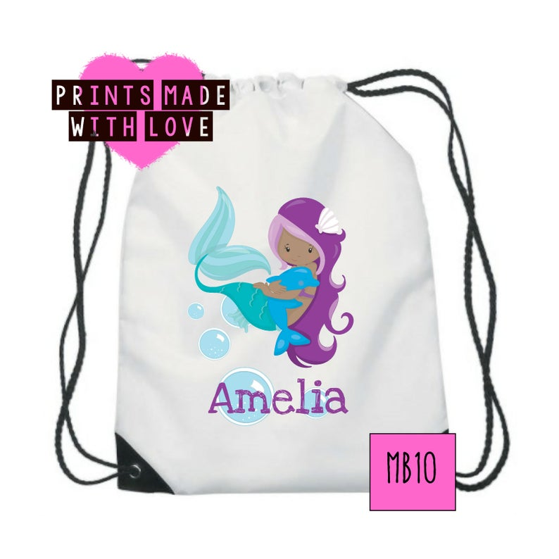 f0b0fd9201 Personalised mermaid bag gym bag unicorn swim bag