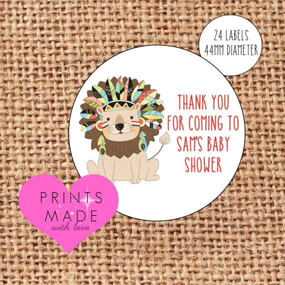 Christening birthday naming day safari zoo Lion party stickers baby shower
