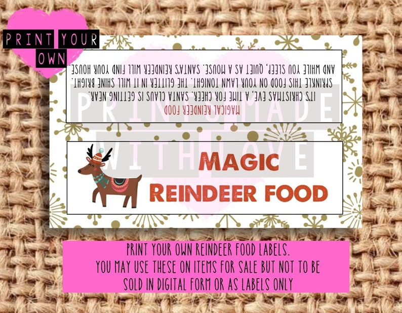 photo regarding Reindeer Food Labels Printable identify Reindeer foodstuff labels print your particular / printable document / craft fayre / potentially resold upon reindeer foods / Xmas eve box / university fete