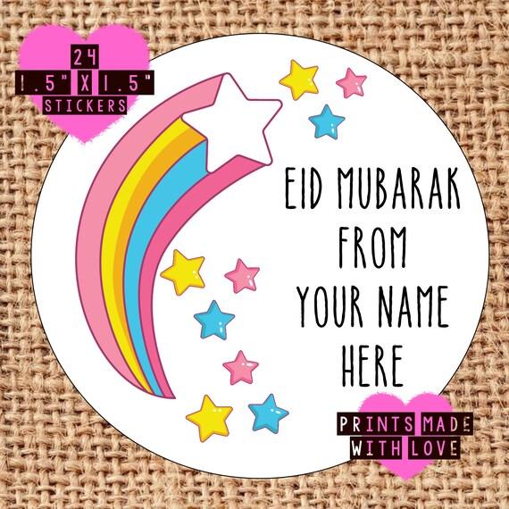 Eid Mubarak Stickers: Eid Mubarak Personalised Stickers Happy Eid Labels Gift