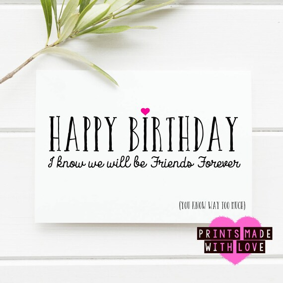 Forever Friends Birthday Card Best Friends Unbiological Etsy