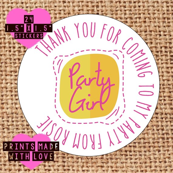 Party bag stickers personalised x24 unicorn s2 thank you sweet cone labels