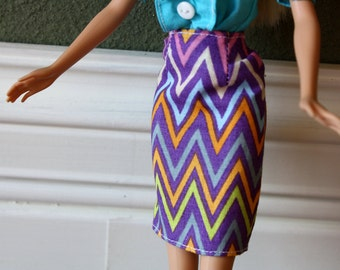 "Purple Pencil Skirt with Multi Colored Chevron Pattern for 11.5"" Fashion Doll [Skirt Only]"