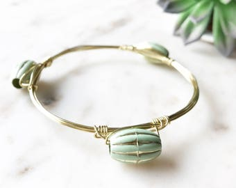 Sale! | Sea Salt + Gold Shimmer Stone Wire Wrapped Bangle | Gold Wire Wrapped Bangle Bracelet | Boho Chic Jewelry | Louis and Finn