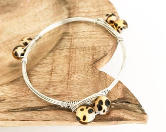 Leopard Beaded Stone Bangle | Silver Wire Wrapped Bangle Bracelet | Leopard Jewelry | Louis and Finn Fashion Jewelry