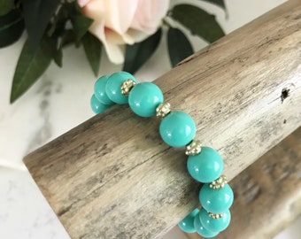 Pretty In Turquoise + Gold Beaded Bracelet | Turquoise Beaded Bracelet | Stretchy Bracelet | Louis and Finn