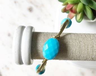Sale! | Turquoise Stone Wire Wrapped Bangle | Gold Wire Wrapped Bangle Bracelet | Bridesmaid Gift | Bridal Jewelry | Louis and Finn