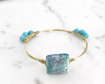Turquoise Iridescent Stone Wire Wrapped Gold Bangle | Statement Jewelry | Gold Bangle Wire Wrapped Bracelet | Bracelet | Louis and Finn