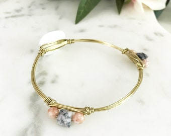 White + Blush Marble Gold Bangle Bracelet | Wire Wrapped Bangle | Gold Wire Wrapped Bangle Bracelet | Louis and Finn