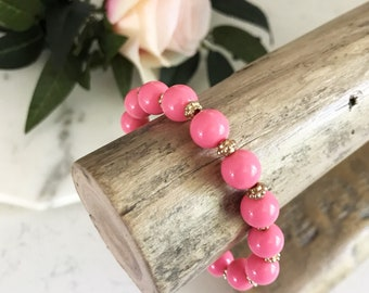 Pretty In Pink + Gold Beaded Bracelet | Pink Beaded Bracelet | Stretchy Bracelet | Louis and Finn