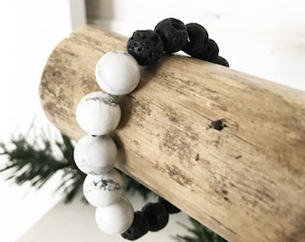 White Marble Howlite +  Black Lava Mineral Mix Bracelet | Mineral Beaded Bracelet | Stackable Bracelets | Louis and Finn Jewelry