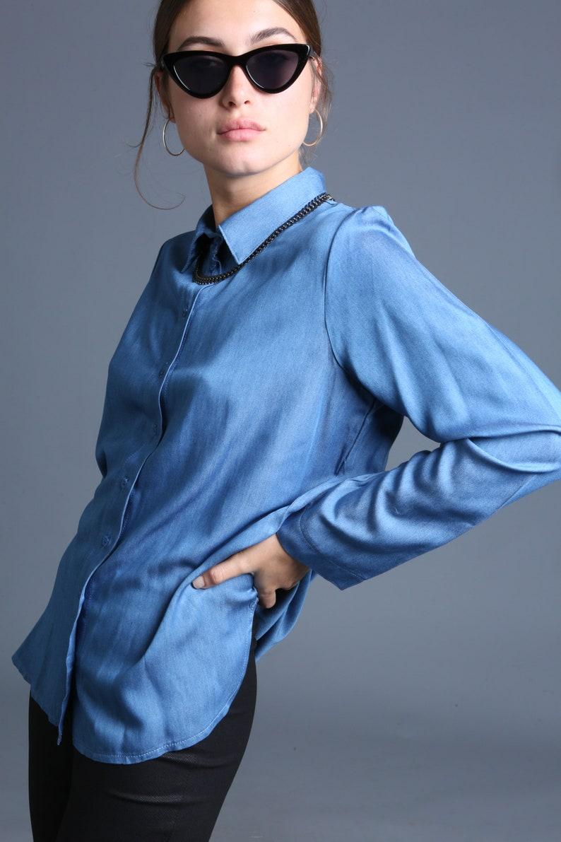 Women Button Shirt Denim Blue  Button Shirt Winter  Top Blue Blouse,Women Button Blouse Long Sleeves Blouse