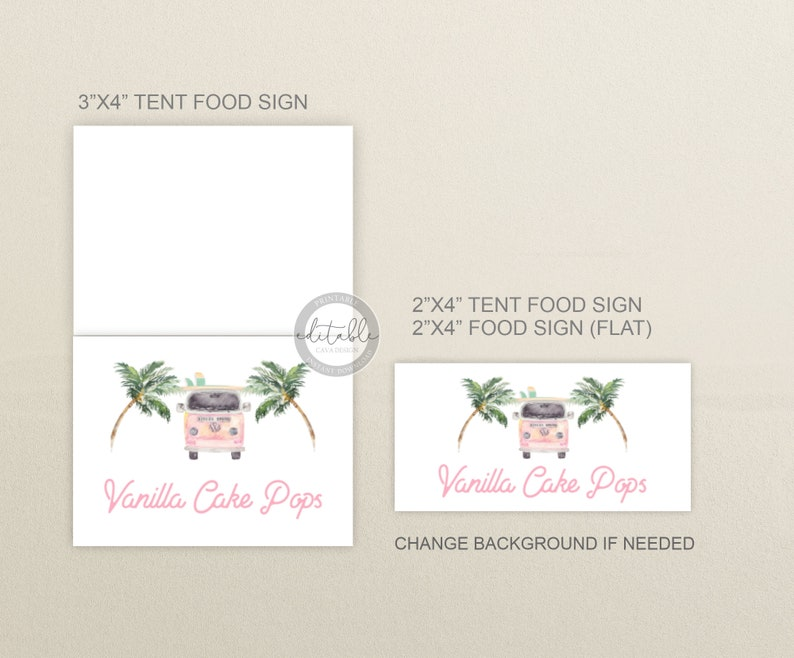 Surf Themed Place Card Template Summer Birthday Food Labels Beach Party Buffet Cards Download BSG/_0329 Editable PRINTABLE Food Cards