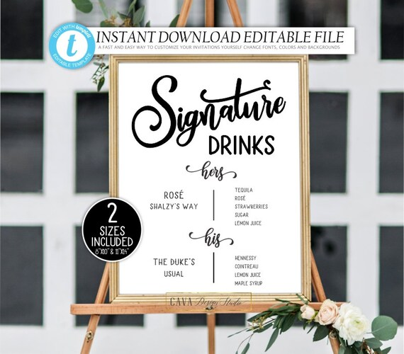 Nature Custom Signature Drink Sign Trees Item no Illustrated Signature Cocktail Sign Printable Wedding Signature Cocktail Sign SAL-05