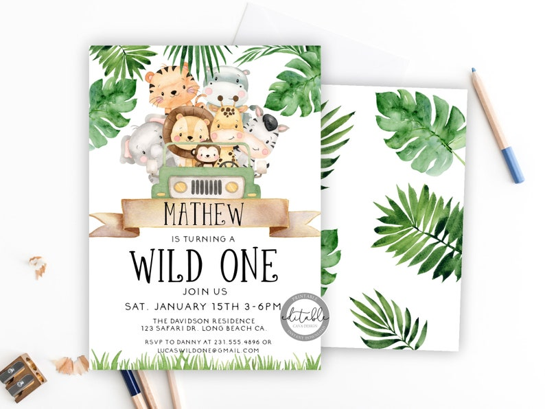 Wild One Birthday Invitation Safari Party Invitation