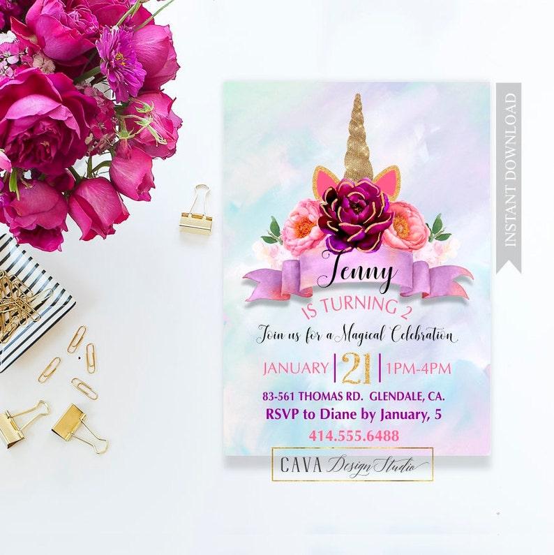 Unicorn Birthday Invitations Printable