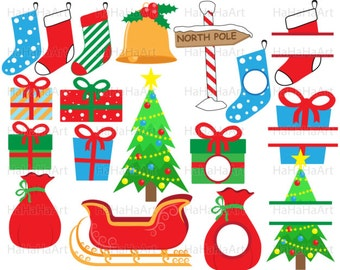 Christmas - Instant download Cutting Files / Clipart Svg Png Jpg Digital Graphic Design Commercial Use holiday Santa gift tree  (00039c)