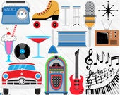 The 50s - Clipart Cutting Files svg png jpg dxf eps digital graphic design Instant Download popular diy die cut machine car music 01487c