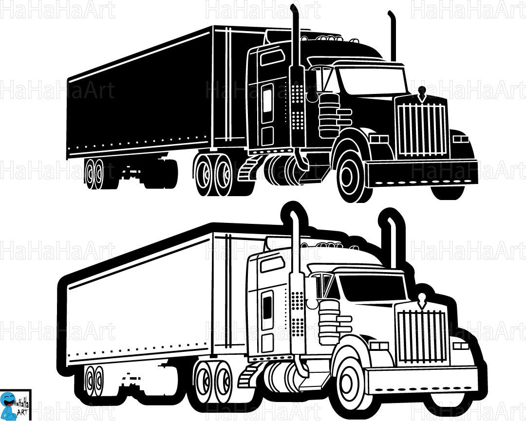 truck 18 wheeler monogram clipart cutting files svg pdf rh etsy com clip art of 18 wheeler truck eighteen wheeler clip art