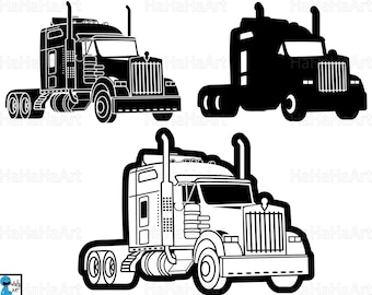 Truck 18 Wheeler Monogram - Clipart / Cutting Files Svg Png Jpg Dxf Digital Graphic Design Instant Download Commercial Use studio3 01033c