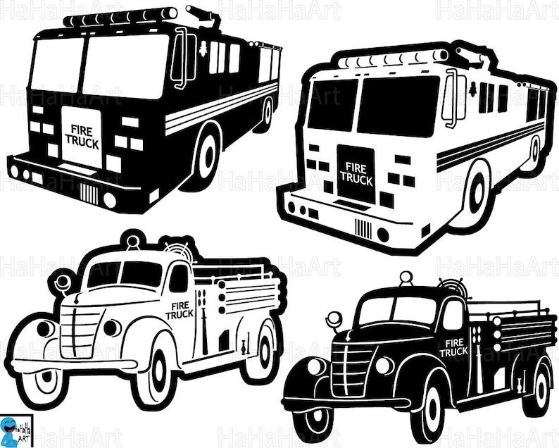 Fire Trucks Monogram Clipart Cutting Files Svg Pdf