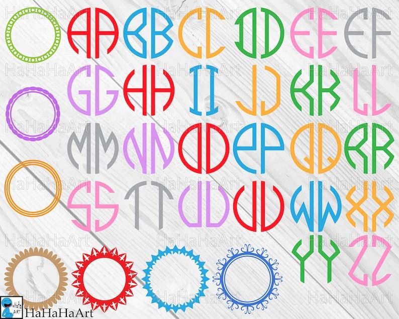 Circle Monogram Alphabet 2 Letters Clipart Cutting Files Etsy