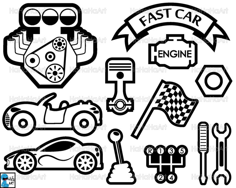 Cool Cars Monogram Black Cutting Files Svg Eps Dxf