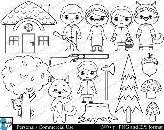Little Red Riding Hood Set Zu Skizzieren Clipart Digital Etsy