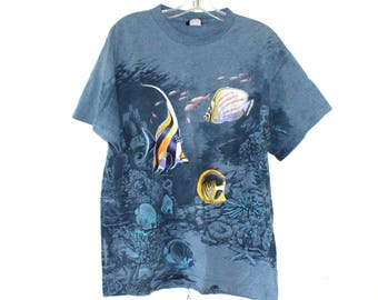 Tropical Fish Habitat/ T- shirt size-Large/ 100% cotton