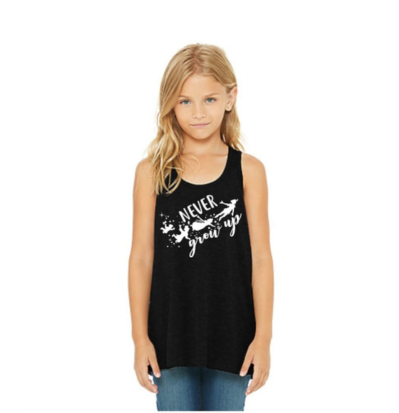 d9f8272cb5df4 Never Grow Up. Youth Tank. Girl s Tank. Flowy Bella Canvas