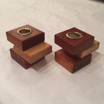 Wooden Candle Holder Pair - Handmade Solid Wood Cherry and Oak with Brushed Nickel for Taper Candle and European Taper