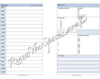 Printable Focus Sheet (Blue) - Day on Two Pages Half Letter
