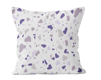 Violet Purple Mauve Lilac Terrazzo Throw Pillow Cover Decor, Modern Stylish Preppy Boho Chic Style Cushion Cover Teen Room Decor Trend _M
