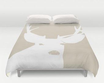 Neutral Deer Duvet Cover, rustic antlers bedroom decor, animal queen duvet cover, woodland king duvet cover, queen size duvet covers