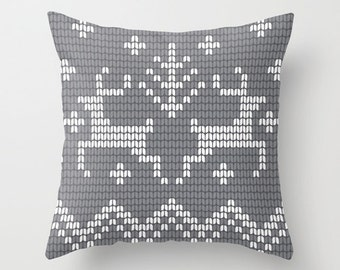 Neutral Christmas Pillow Cover, Grey Reindeer Pillow Cover, Fair Isle Print Pillow Cover, Neutral Nordic Winter Pillow Cover _M