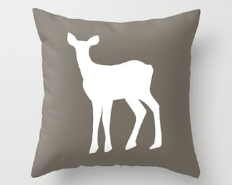 Deer Pillow Cover, Fawn pillow, neutral pillow, cabin pillow, animal pillow, rustic pillow, brown pillow, woodland pillow, choose color