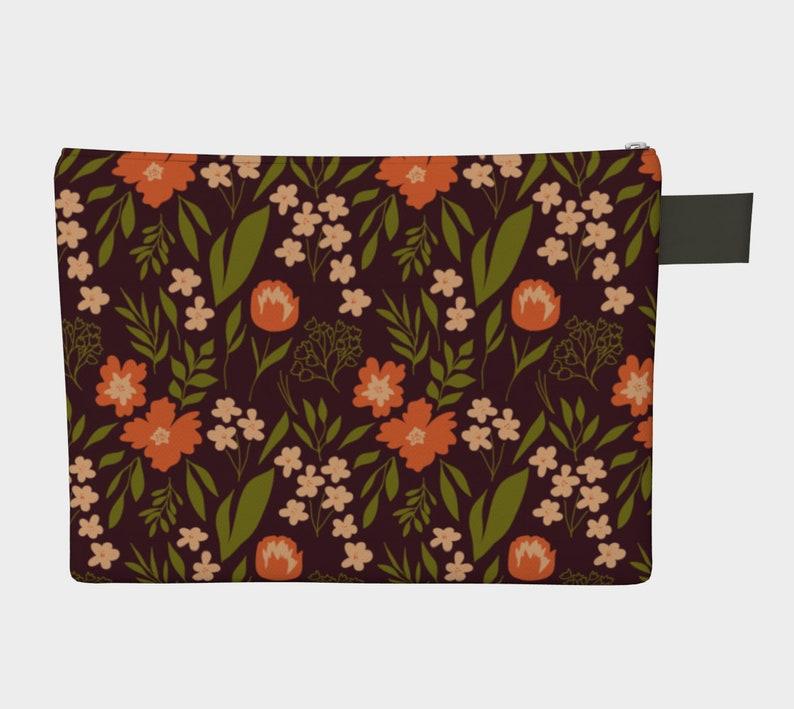 Baby Diaper Tablet Bag Art Supplies Bag Gift Warm Floral Carry All Large Zipper Bag Canvas Pouch Vegan Leather Wristlet Purse Clutch
