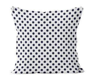 Navy Blue Polka Dot Pillow Cover, 18x18 polka dot pillow cover