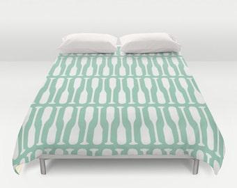Oar Duvet Cover, seafoam green mint bedroom decor, boat oar queen duvet cover, lake king duvet cover, queen size duvet covers, choose color