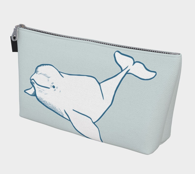 5f9cbacea328 White Beluga Whale Makeup Bag, toiletry bag, travel bag, gift for her,  cosmetic bag, cosmetic organizer pouch, oceanographer gift