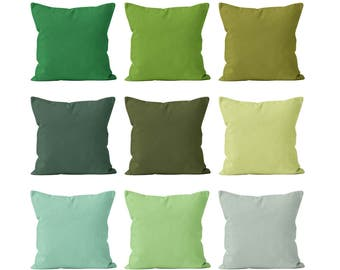 Solid Green Pillow Covers Set Mix and Match, Green Home Decor Accent Pillow Covers,Greenery Mint Lime Moss Pistachio Cedar Leaf Green _S