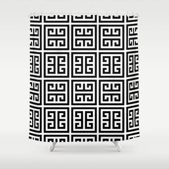 45 Colors Greek Key Shower Curtain Classic Black And White