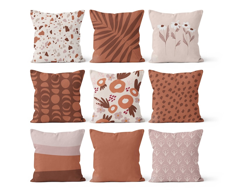Modern On Trend Decor Terrazzo Floral Dots Moon Palm Earth Tones Throw Pillow Cover Set in Terracotta Brown Orange Pink Warm Neutrals
