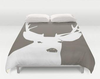 Woodland Deer Duvet Cover, rustic antlers bedroom decor, animal queen duvet cover, brown king duvet cover, queen size duvet covers